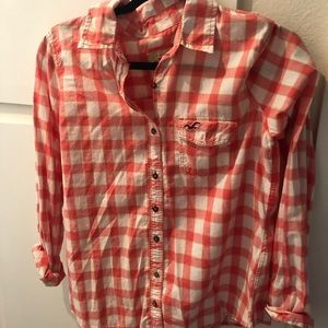 Hollister Coral/Lime/White Flannel Button Down